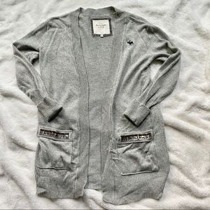 EUC Open Front Long Cardigan w/Jeweled Pockets